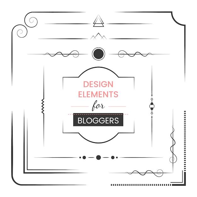 Insieme di elementi di design per il vettore di blogger Vettore gratuito