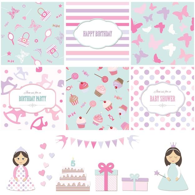 Insieme di elementi di disegno della doccia del bambino della festa di compleanno e della ragazza. Vettore Premium