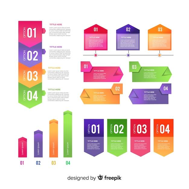 Insieme di elementi di gradiente infografica Vettore gratuito