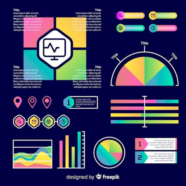 Insieme di elementi di infografica sfumati Vettore gratuito