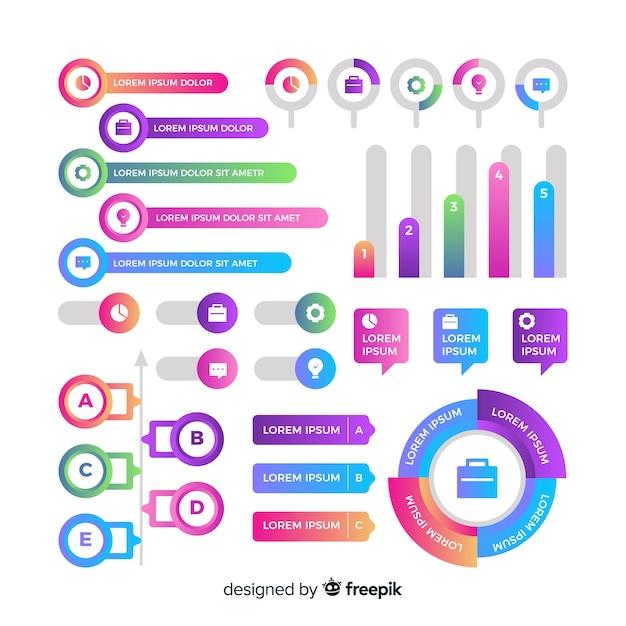 Insieme di elementi di infografica sfumato Vettore gratuito