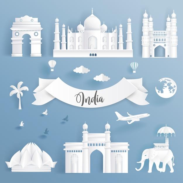 Insieme di elementi di monumenti famosi del mondo dell'india. Vettore Premium