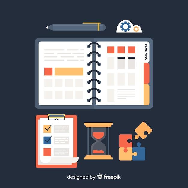 Insieme di elementi di pianificazione Vettore gratuito