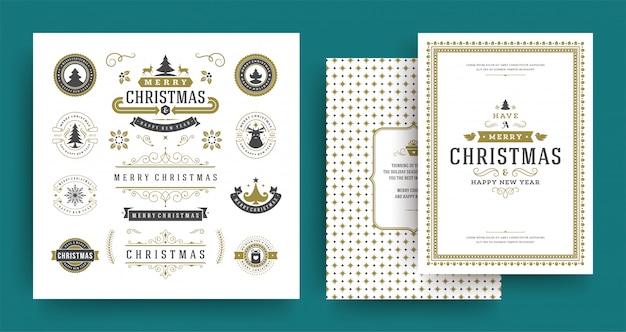 Insieme di elementi di progettazione di vettore delle etichette e dei distintivi di natale con il modello della cartolina d'auguri. Vettore Premium