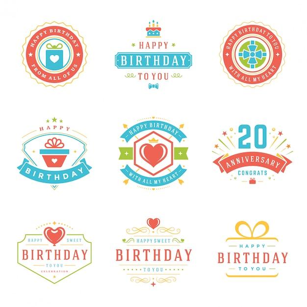 Insieme di elementi di progettazione di vettore di distintivi ed etichette di buon compleanno. Vettore Premium