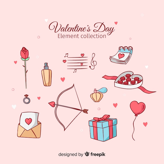 Insieme di elementi di san valentino disegnato a mano Vettore gratuito