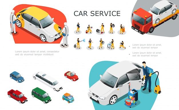 Insieme di elementi di servizio auto isometrica con operai professionisti cambia riparazione pneumatici e lava l'assistenza stradale dell'automobile Vettore gratuito
