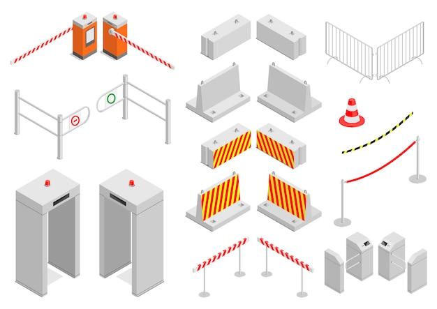 Insieme di elementi di sicurezza dell'infrastruttura Vettore Premium