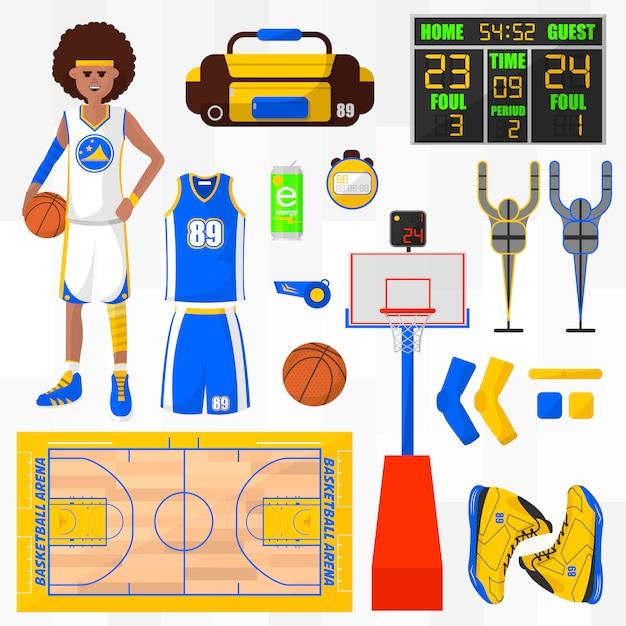 Insieme di elementi di vettore di basket. Vettore Premium