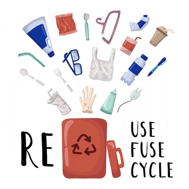 Insieme di elementi di vettore - rifiuti di plastica e contenitore per rifiuti Vettore Premium