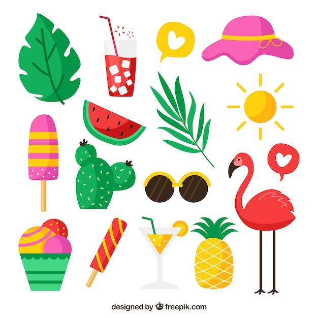 Insieme di elementi estivi con frutta e cibo in stile piatto Vettore gratuito