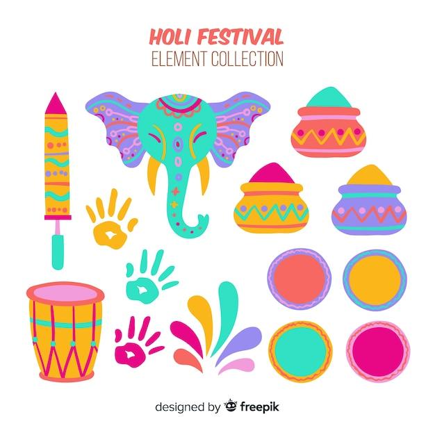 Insieme di elementi festival colorato di holi Vettore gratuito
