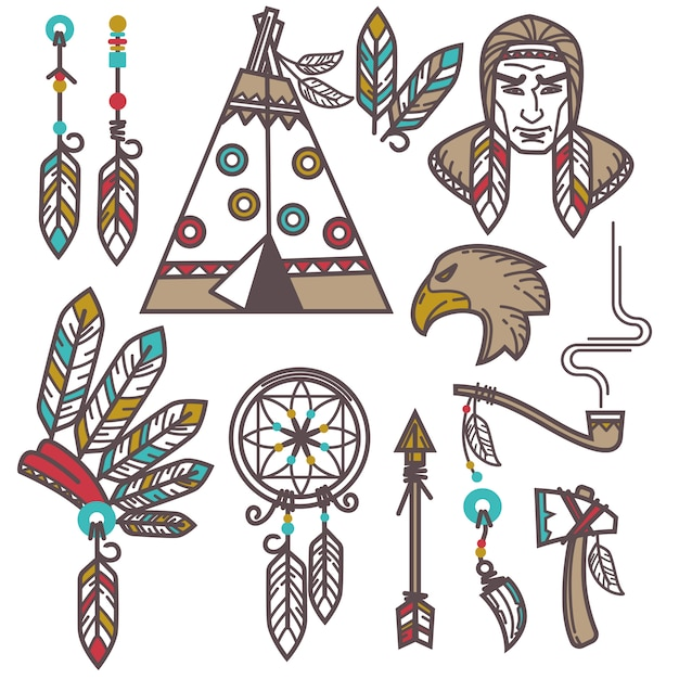 Insieme di elementi indiani selvaggi ovest americani. Vettore Premium