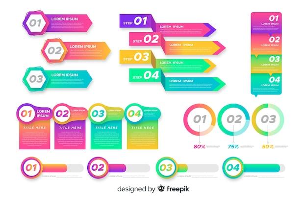 Insieme di elementi infographic colorati Vettore gratuito