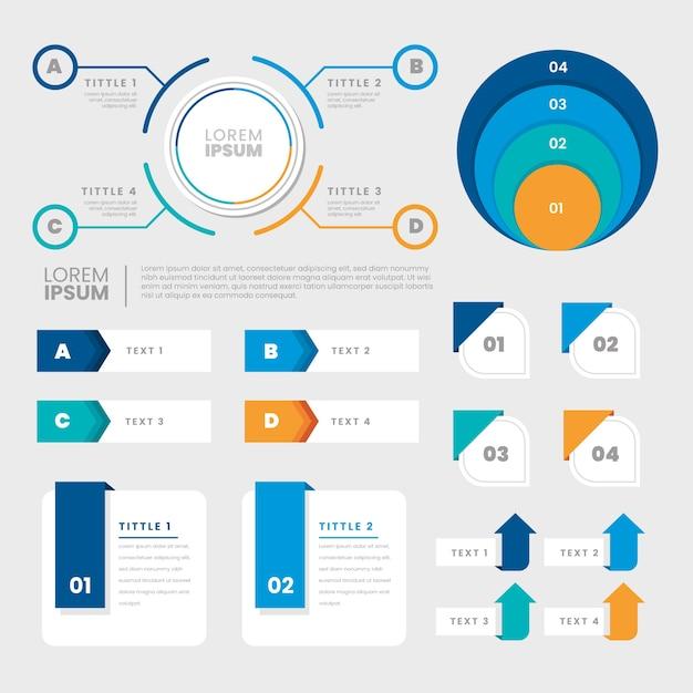 Insieme di elementi infographic design piatto Vettore gratuito