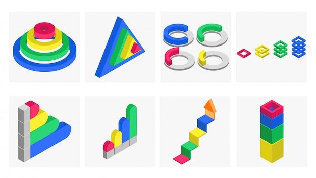 Insieme di elementi infographic isometrico 3d. Vettore Premium