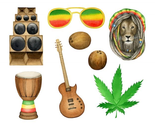 Insieme di elementi musicali reggae Vettore Premium