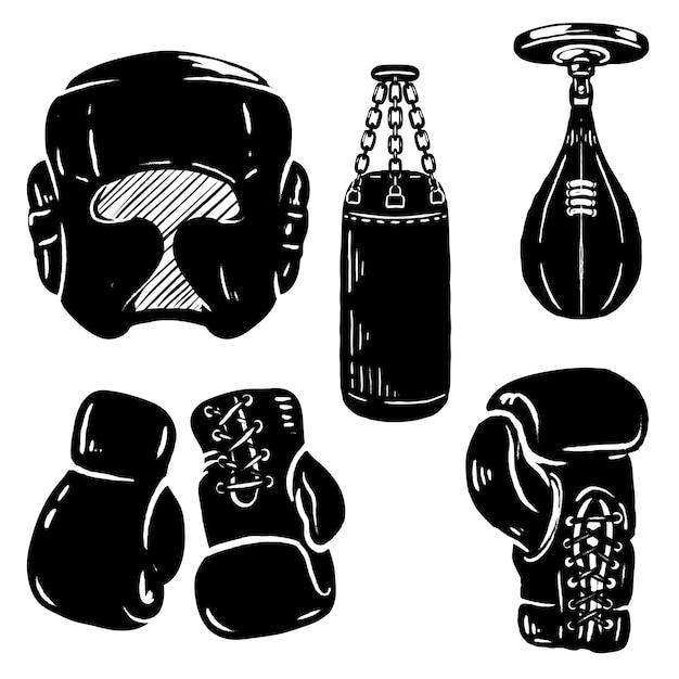Insieme di elementi sportivi di boxe. guantoni da boxe, protezione per la testa, sacco da boxe. elementi per logo, etichetta, emblema, segno. illustrazione Vettore Premium