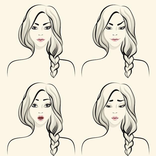 Insieme di emozioni facciali della donna Vettore gratuito