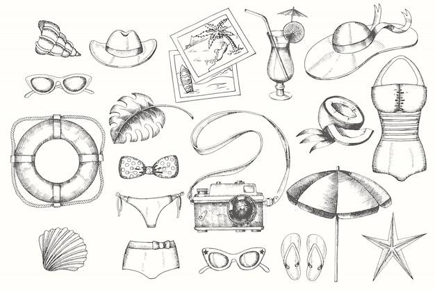 Insieme di estate dell'annata degli oggetti disegnati a mano di scarabocchio isolati su bianco Vettore Premium