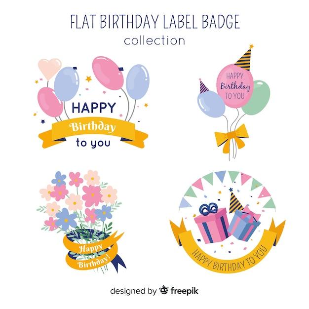 Insieme di etichette di compleanno di colore pastello Vettore gratuito