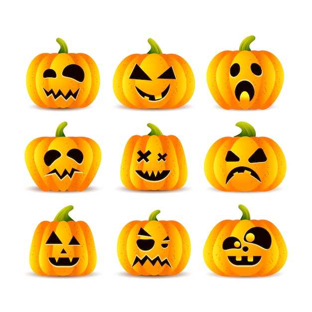 Insieme di facce buffe di zucche di halloween Vettore Premium