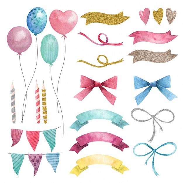 Insieme di festa dell'acquerello disegnato a mano di palloncini, bandiere e fiocchi Vettore Premium