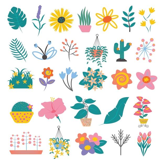 Insieme di foglie e fiori colorati stile piatto semplice del fumetto Vettore Premium