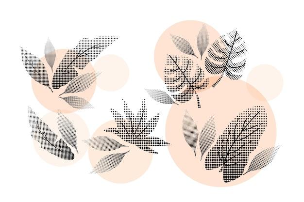 Insieme di foglie e fiori tropicali rosa mezzetinte Vettore gratuito