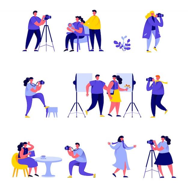 Insieme di fotografi di persone piatte prendono diversi personaggi di immagini Vettore Premium