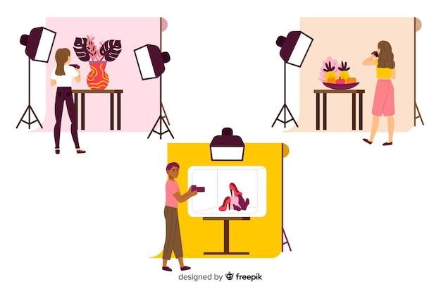 Insieme di fotografi illustrati che scattano scatti con diversi modelli Vettore gratuito