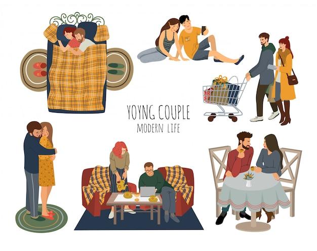 Insieme di giovani coppie innamorate trascorrere del tempo insieme Vettore Premium