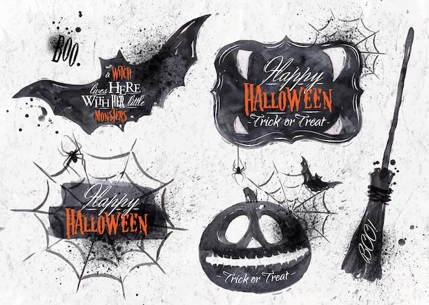 Insieme di halloween, zucca di simboli di halloween disegnato, lettering e stilizzato disegno vintage Vettore Premium