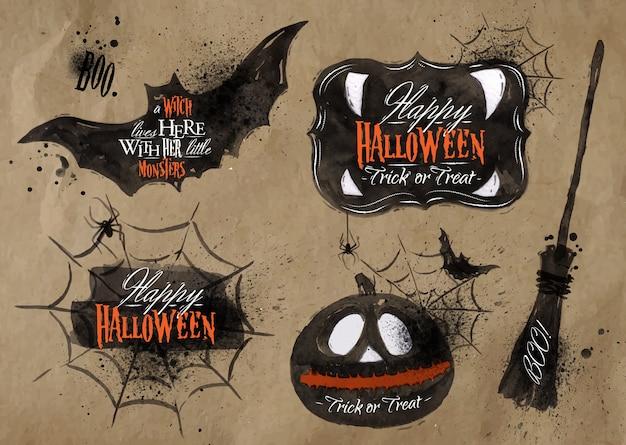 Insieme di halloween, zucca di simboli disegnati di halloween, scopa, iscrizione che assorbe carta kraft Vettore Premium