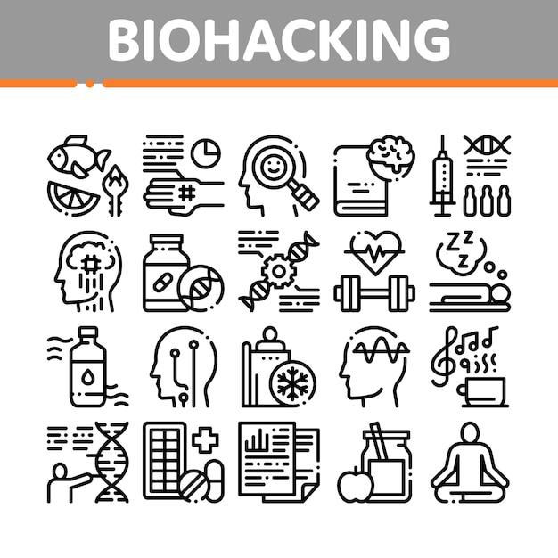 Insieme di icone degli elementi della raccolta di biohacking Vettore Premium