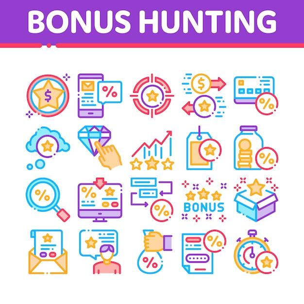 Insieme di icone degli elementi della raccolta di caccia di indennità Vettore Premium