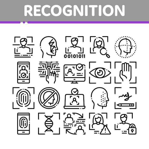 Insieme di icone degli elementi della raccolta di riconoscimento Vettore Premium