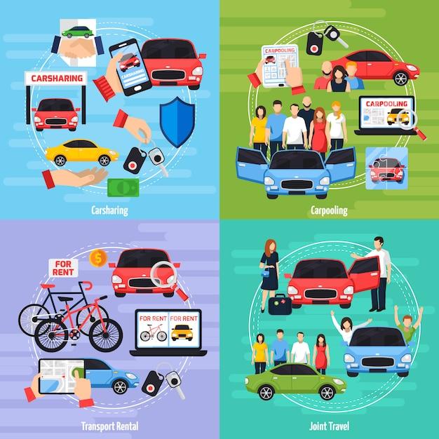 Insieme di icone di concetto di car sharing Vettore gratuito