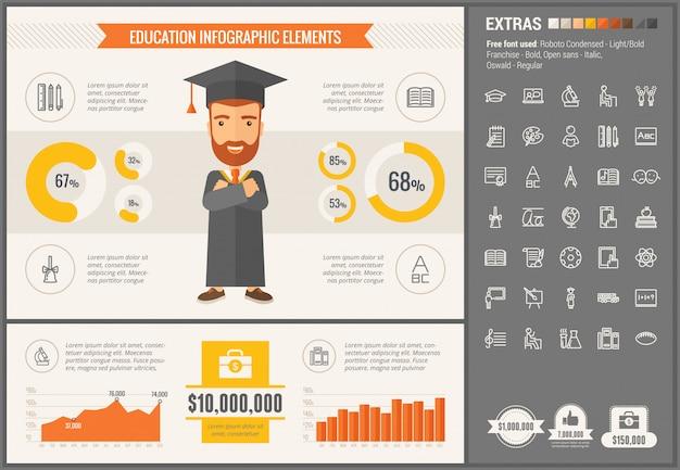 Insieme di icone e modello infographic di educazione design piatto Vettore Premium