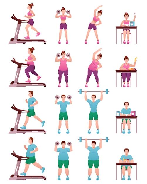 Insieme di icone grasso slim fitness persone Vettore gratuito