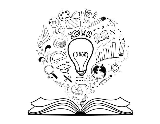 Insieme di idea di educazione doodle disegnato a mano Vettore Premium