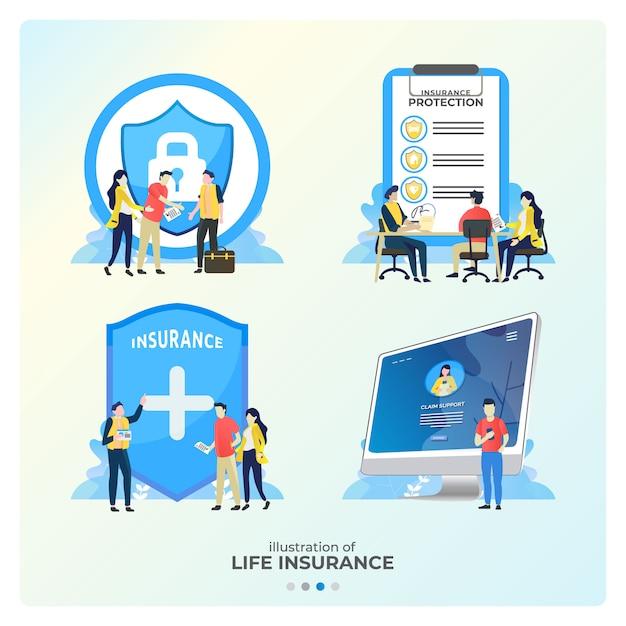 Insieme di illustrazioni di assicurazione sulla vita, unire una garanzia Vettore Premium
