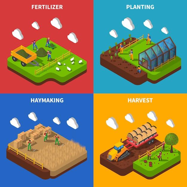 Insieme di immagine di vettore concetto isometrica farmer Vettore gratuito