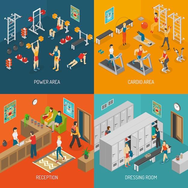 Insieme di immagine di vettore di concetto di fitness isometrica Vettore gratuito