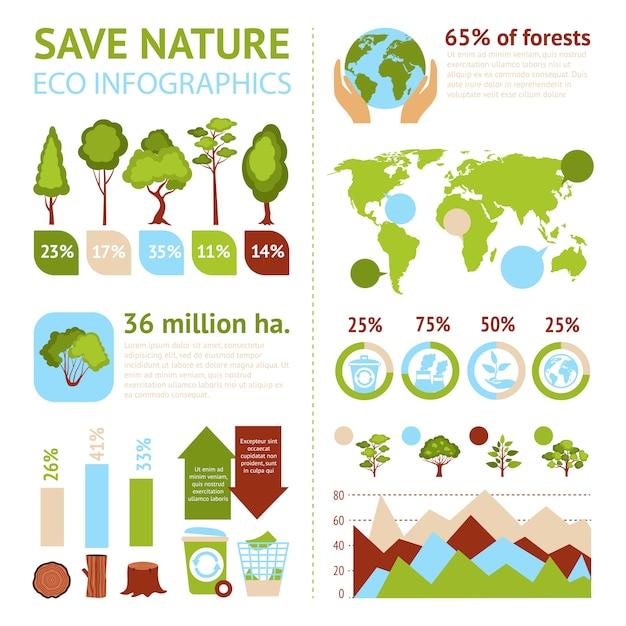 Insieme di infographics di foresta Vettore gratuito