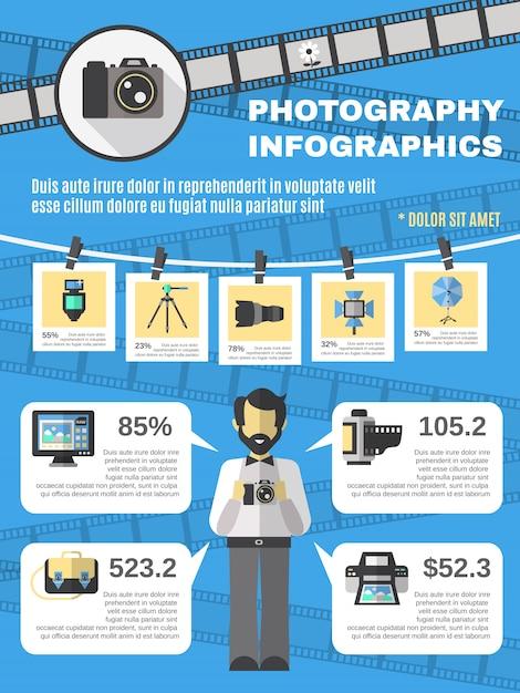 Insieme di infographics di fotografia Vettore gratuito