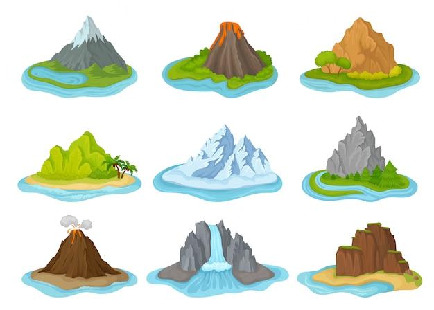 Insieme di isole con montagne circondate dall'acqua. paesaggio naturale. elementi per poster di viaggio o gioco per cellulare Vettore Premium