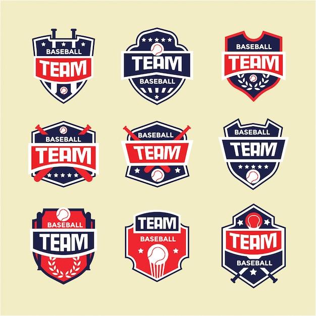 Insieme di logo del distintivo di sport di baseball Vettore Premium