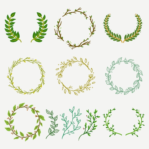Insieme di logo del fiorista di foglie e rami naturali Vettore Premium