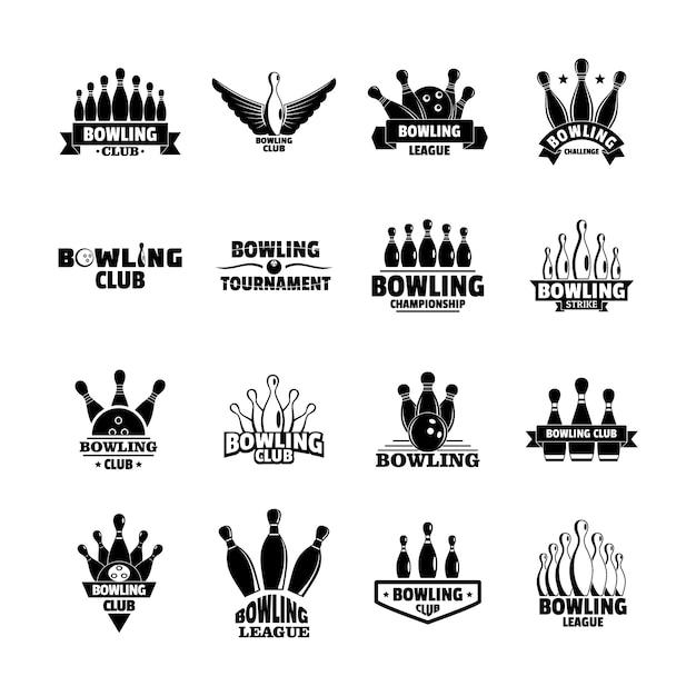 Insieme di logo del gioco di bowling kegling Vettore Premium